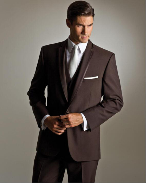 Classic Brown White One Button Groom suits for Wedding 2018 The ...