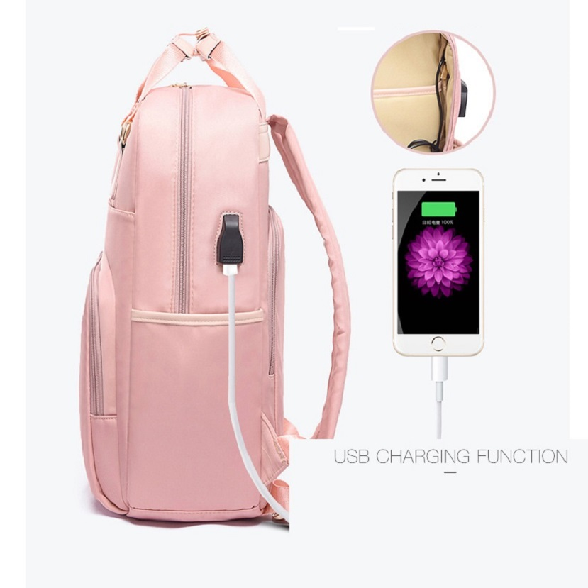Image 4 - Waterproof Laptop Backpack Female Fashion Girl Backpack 13 13.3 14 15 15.4 15.6 inch Back pack Women men Oxford cloth Black Pink-in Laptop Bags & Cases from Computer & Office