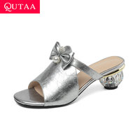 QUTAA 2019 Women Sandals Rhinestone Butterfly Ribbon Peep Toe Fashion Strange Heel Cow Leather Slingback Ladies Shoes Size 34 42