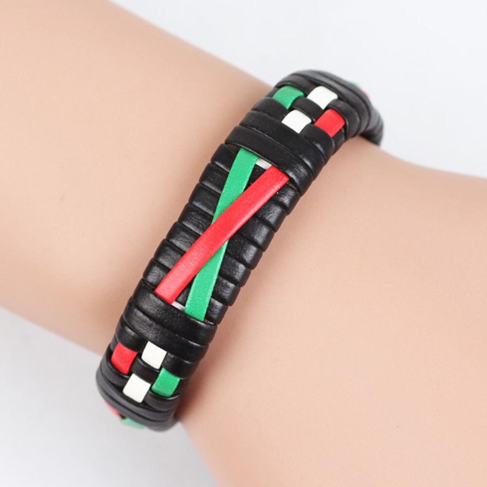 1pcs Multi Color Hand Braided Bracelet Punk Style Leather Adjustable Bracelets For Woman Man Gift