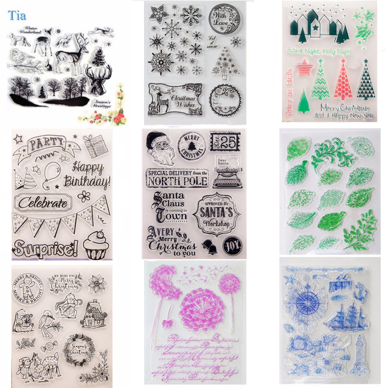 Natale Clear Rubber Stamp Sea animal vintage travel Timbro sigillo di halloween trasparente per DIY Scrapbooking Decorativo 14 * 18cm