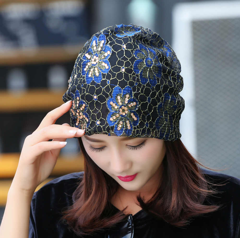 e924fca5916 ... girl women brand hat lace luxury floral beanie hats custom design rhinestone  flower style casual spring