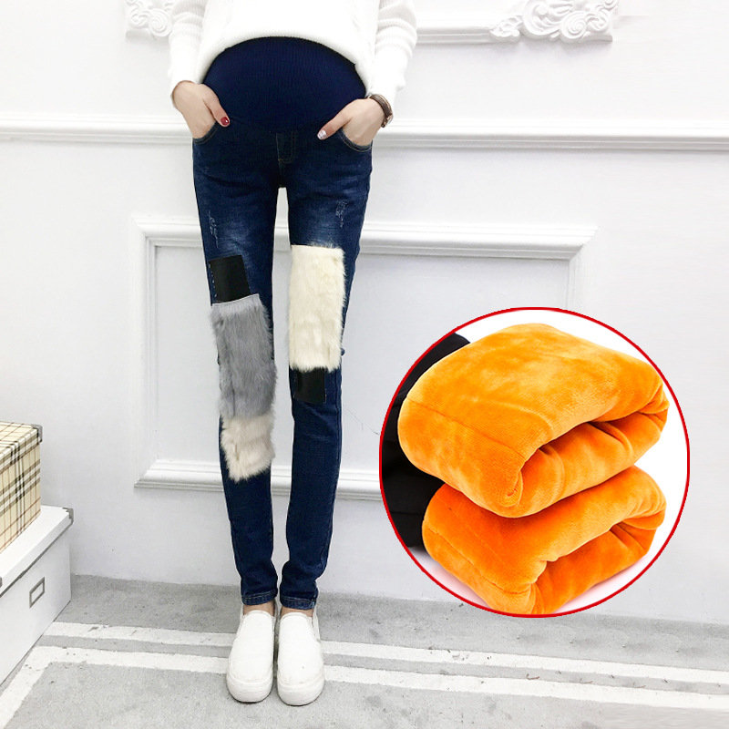 Pregnant Women's Winter Plus Velvet Thick Warm Skinny Patchwork Pencil Denim Pants Maternity Rabbit Fur Jeans Trousers Campure artka women jeans with embroidery vintage trousers women 2018 skinny jeans denim pencil pants plus size elastic jeans kn12621d