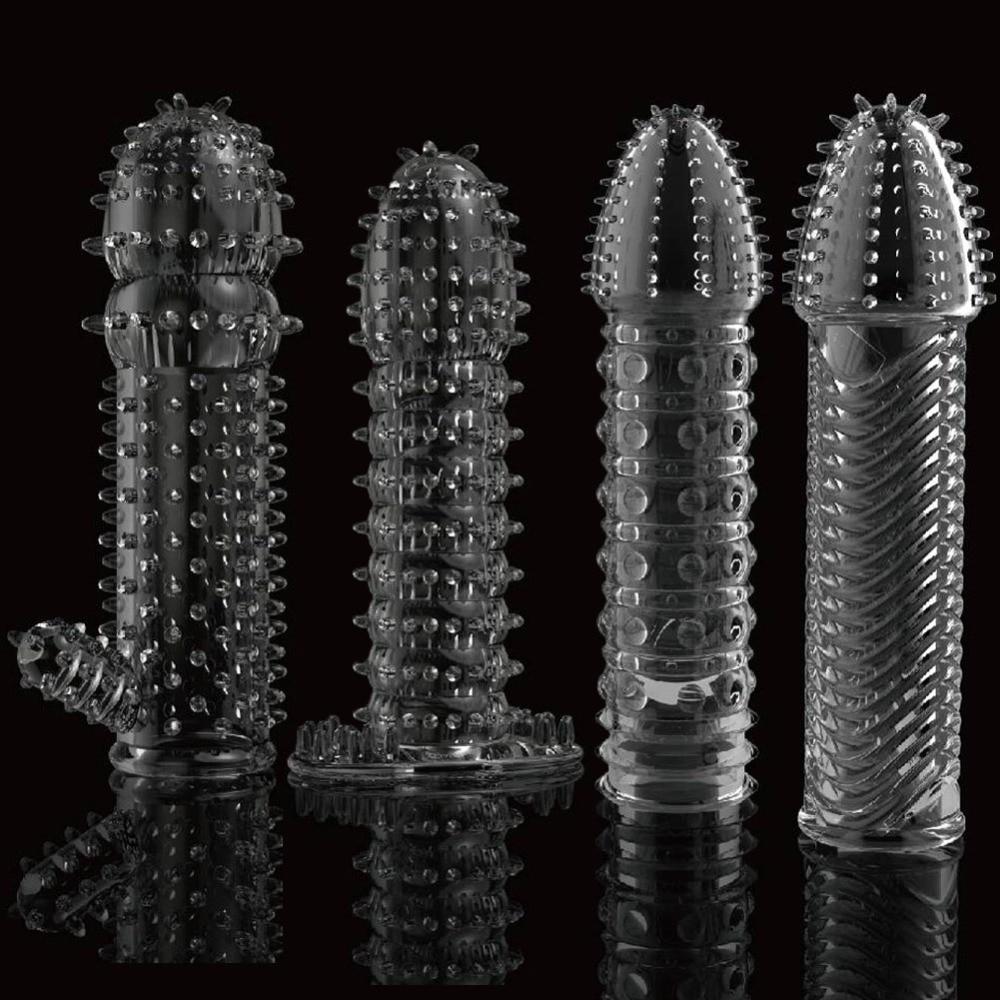 Reusable Condom Lube Textured Extender Sleeve Screw Thread Penis Cover Cock Ring Dildo Sheath Condoms Coque Sex Toys For Men