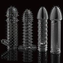 9af7f0d86b16 Preservativo reutilizable lubricante texturado extensor de manga de rosca para  pene anillo de pene