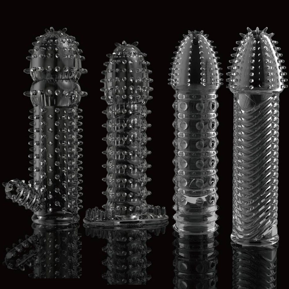 Reusable condom lube Textured Extender Sleeve screw thread Penis cover Cock Ring dildo sheath Condoms coque Sex Toys for Men