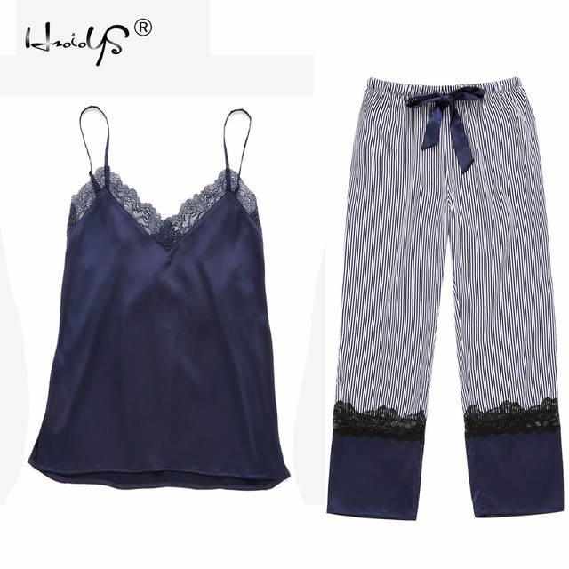 51a7bb132450 Online Shop 2018 New Brand Pijama Sets Women Satin Silk Home Clothing Sexy  Lace Sleevesless Long Pants 2 Pieces Set Pyjamas Nightwear