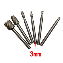 Hot Sale Mini 6Pcs 3mm Routing Router Bits Grinding Burr Rotary Tool For Wood Carving(China (Mainland))