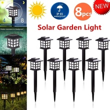 2/4/8Pack Outdoor Solar Power LED Path Way Wall Landscape Mount Garden Fence Lamp Light