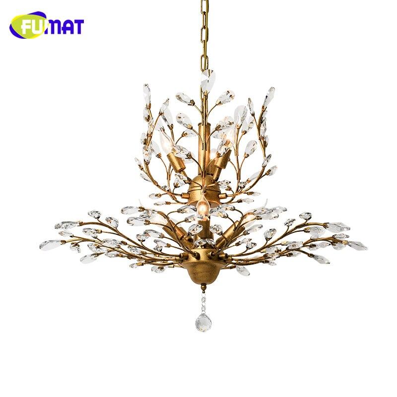 FUMAT K9 Crystal Chandelier American Crystal Lightings Living Room Study Room Creative LED Art Deco Metal Vintage Chandeliers