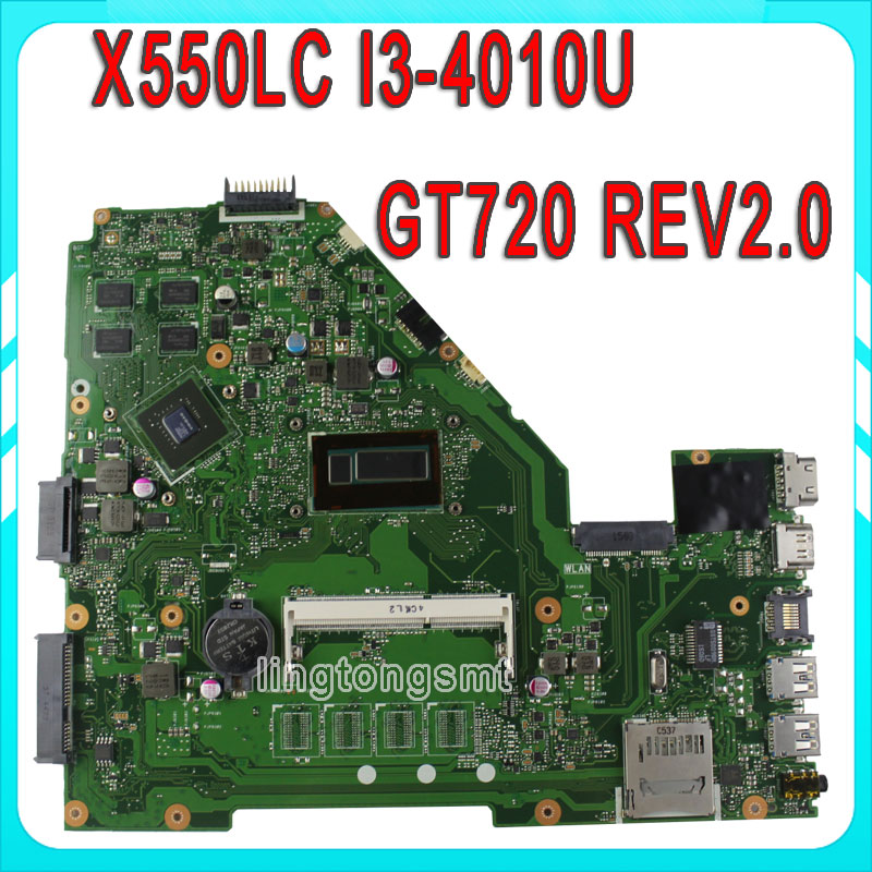 Original For Asus X550l X550LC Motherboard X550LC REV2.0 Mainboard I3-4010U GT720 Fit X550lb A550LB A550LC 100% test for asus x550lc laptop motherboard x550lc rev2 0 i3 4010u graphic gt720m non integrated mainboard 100