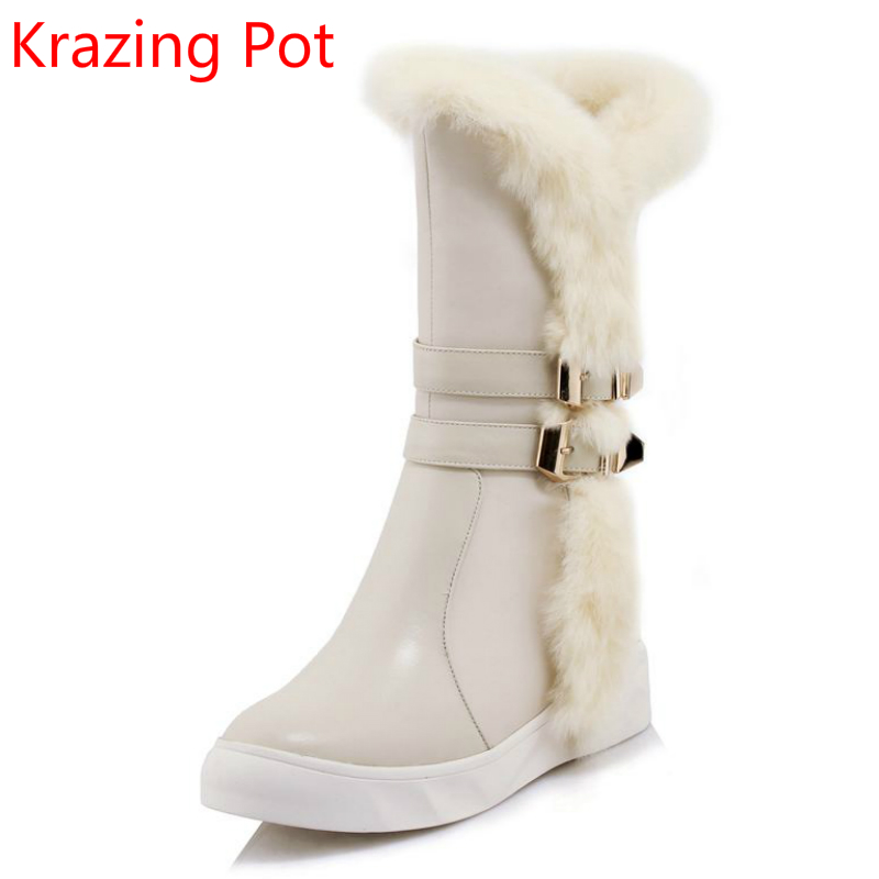 New Arrival Buckle Cow Leather Fashion Flat with Keep Warm Winter Boots Gladiator Increased Ound Toe Women Mid-Calf Boots L4 double buckle cross straps mid calf boots