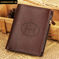 2017 New Split leather Harrm's brand men wallets, H Letter purse wholesale fashion leather wallets , Free shipping