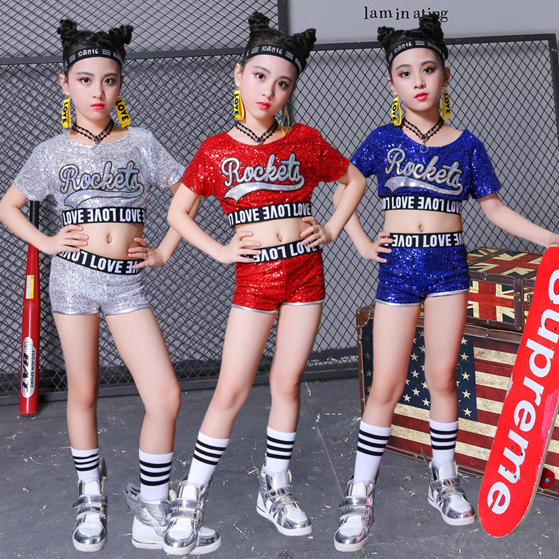 Girls Jazz Costume Sequined Shirt Shorts Kids Hip Hop Clothing Children Cheerleader Outfit Street Stage Show Dancewear DN2950