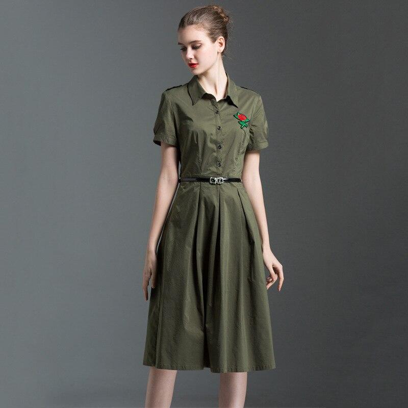 Haute qualité 2018 robe d'été nouveaux robes femmes longues robes plissées brodées Rose à manches courtes femme robe