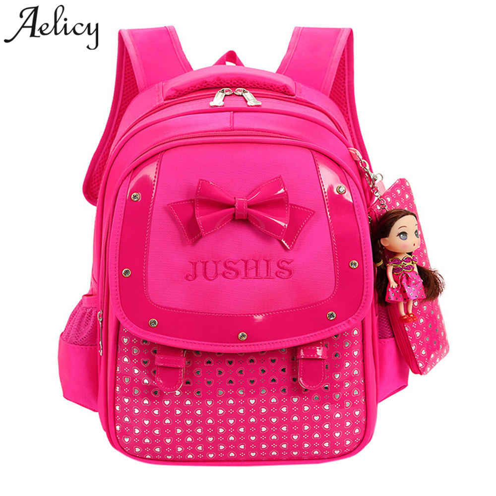 97f734989016 Aelicy Роскошные детские сумки для девочек детей дошкольного возраста  школьные сумки мультфильм галстук-бабочка для