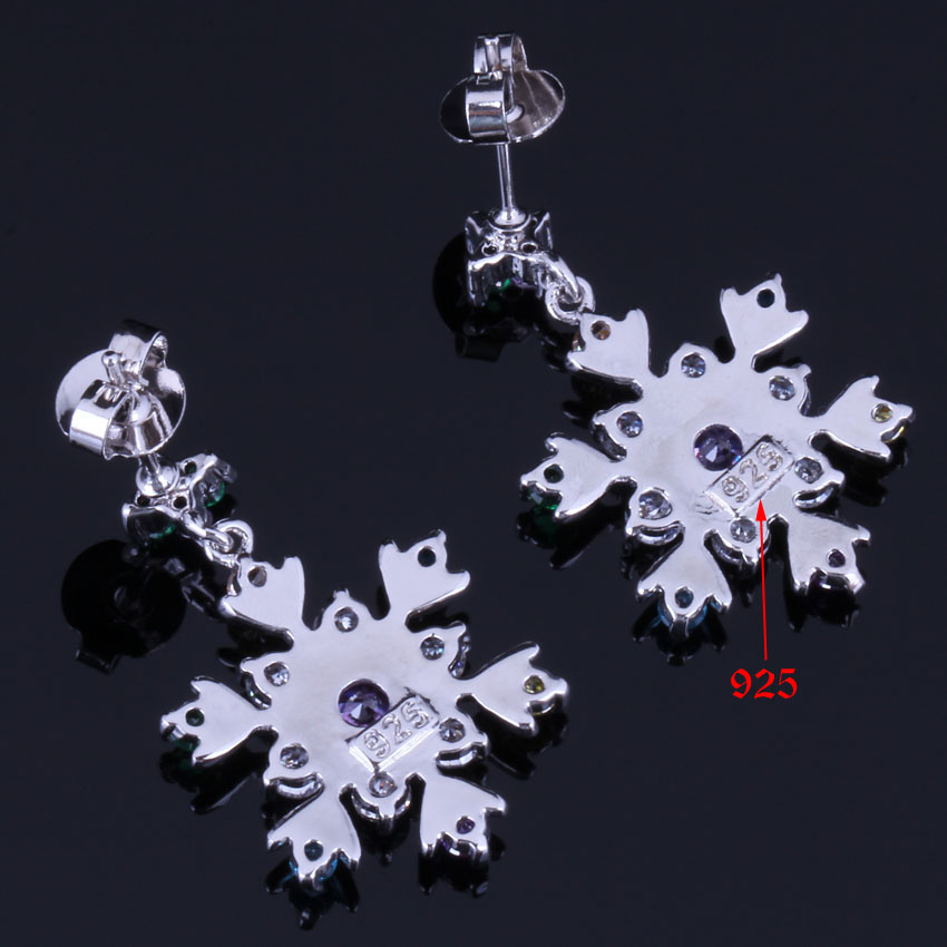 Awesome Snowflake Multigem Multicolor Brown Cubic Zirconia 925 Sterling Silver Drop Dangle Earrings For Women V1025 in Drop Earrings from Jewelry Accessories