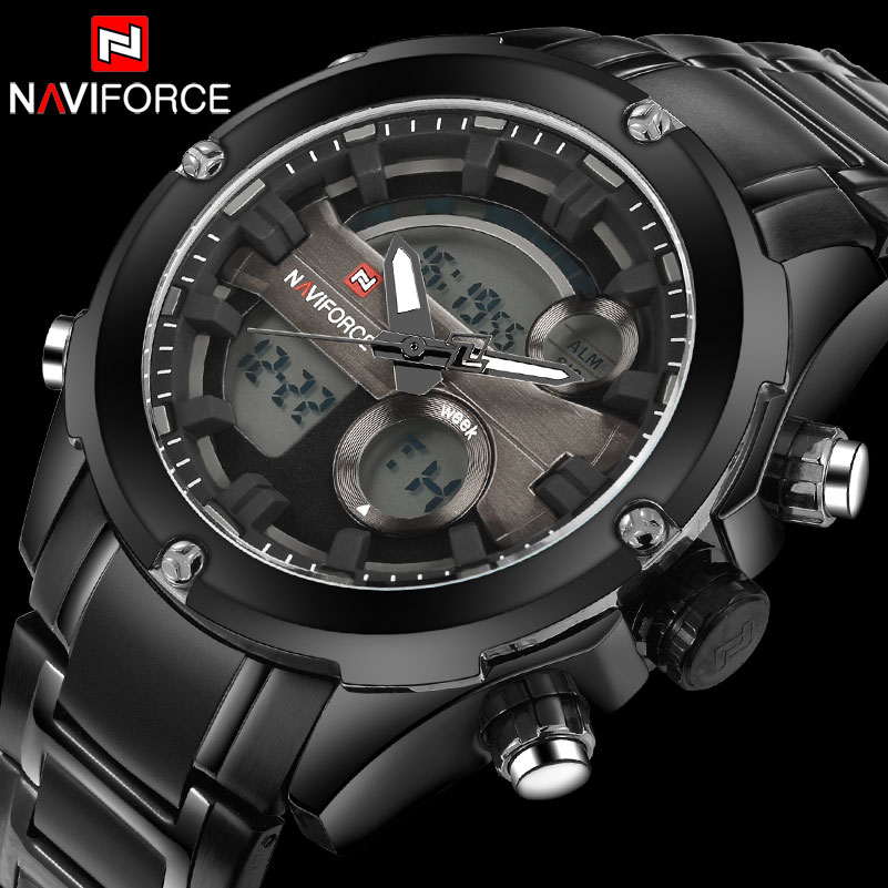 Naviforce Men 30M Vattentät Watch Full Stainless Steel Analog Digital Display LED Klockor Mens Militär Klocka Relogio Masculino