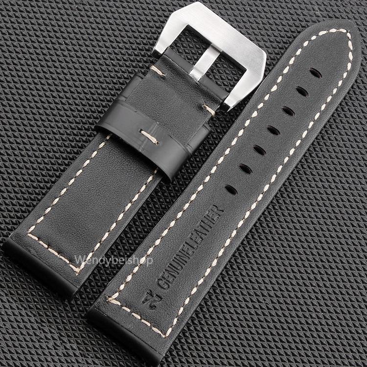 CARLYWET 22 24 26mm Schwarz Braun Echtes Leder Handgemacht Dickes - Uhrenzubehör - Foto 4