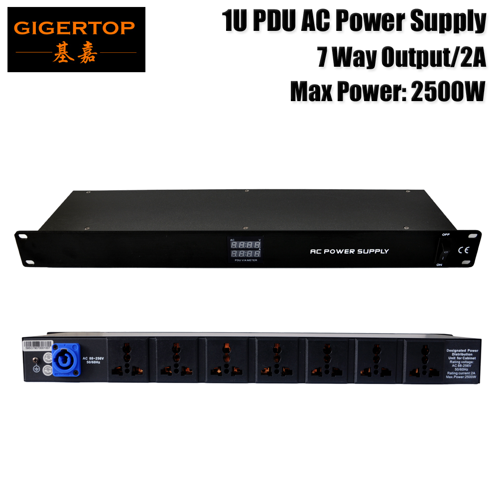 Discount Price 1U PDU AC POWER Distributor Box for Cabinet AC88V 256V Rating Current 2A Max Power 2500W 9 Way Output Socket