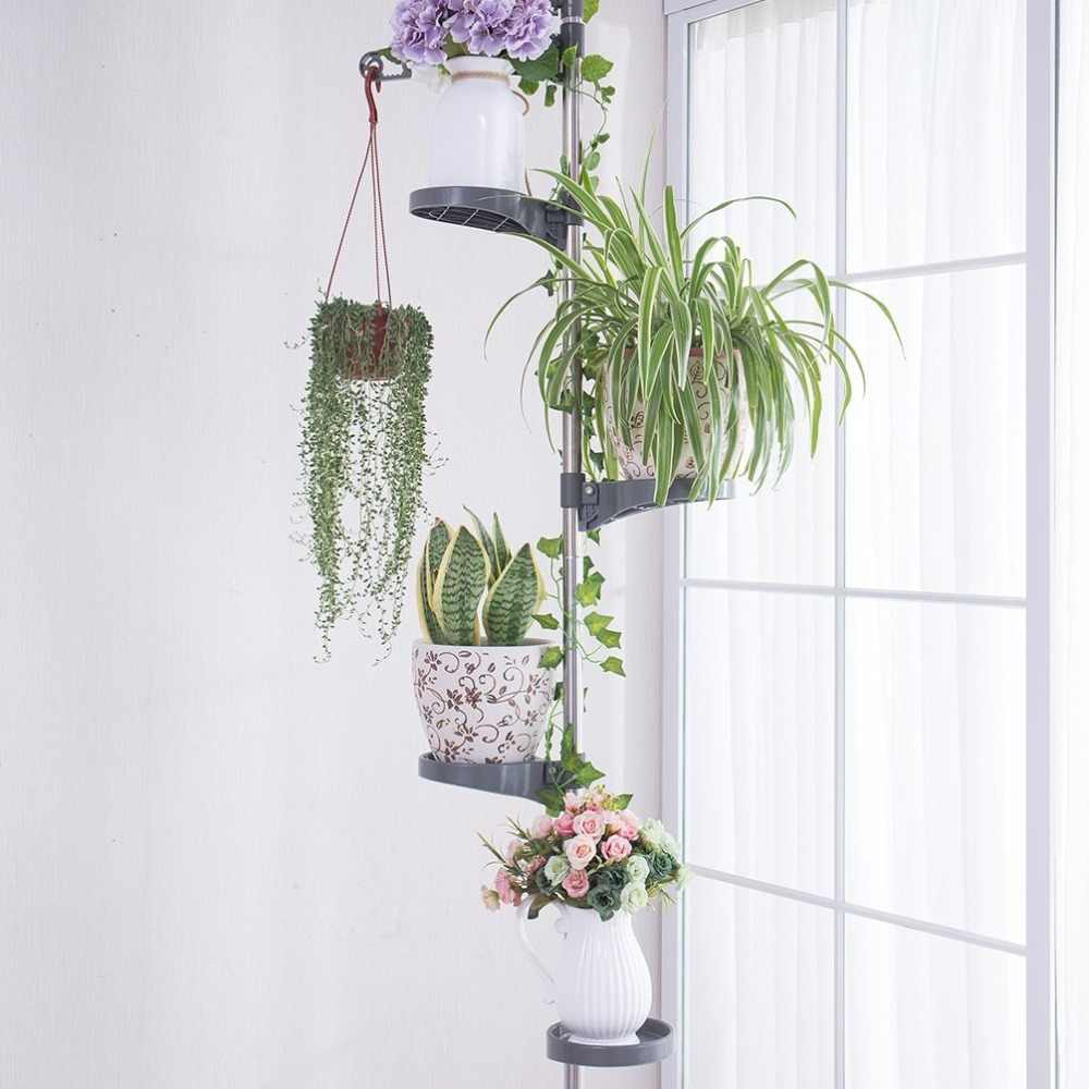Indoor Plant Stand Planter Holder Organiser Tension Pole Storage Rack Flower Display Shelf Home Decor 1607xilie