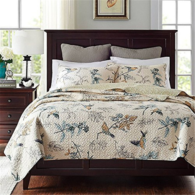 Fadfay 100 Cotton Bedspread Sets Country Comforter Birds Printing Queen Quilt Set With Pillowcases