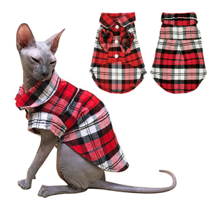 Summer Pet Cat Clothes For Small Cats Sphynx Classic Plaid Cat Shirts Cotton Kitten T-shirt Costumes Puppy Dog Cat Vest Clothing(China)