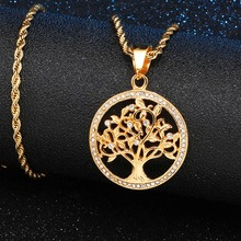 Iced Out Bling Stainless Steel Tree of Life Wisdom Pendants & Necklaces for Men HIP Hop Jewelry Dropshipping