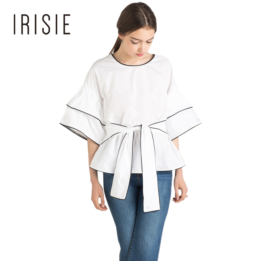 IRISIE Apparel White Tie Front Soft Casual Loose Shirt Tops Half ...