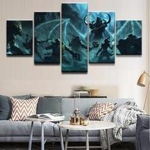 все цены на Home Decor Painting Wall Art Poster Printed Modern 5 Panel Game Diablo III Reaper Of Souls Canvas Living Room Modular Pictures онлайн