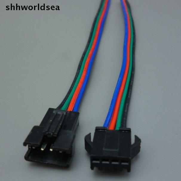 shhworldsea 100Sets JST 2.54mm SM 4 Pin car Multipole Connector plug With Wire 200PCS connector (100pcs male+100pcs female)