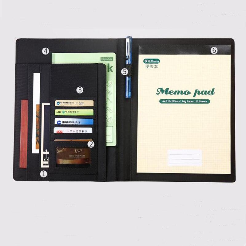 A4 fichier dossier portefeuille document sac brève case organisateur entreprise financière pince fournitures de bureau bill dossiers stylo boucle 1169B