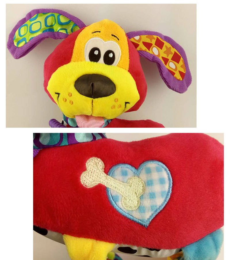 35*22CM Musical Cute Rattles Bed Crib Stroller Kids Stuffed Doll Vibrator Dog Hand Bell Shake RingToy With Teether D012 10