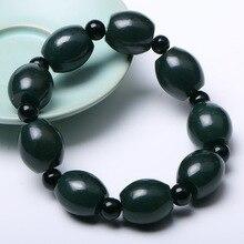 Natural Dark Green Hetian Jade Sapphire Bracelet Round Bead Shape Hand String Bangles Fashion Men Boys Jewelry