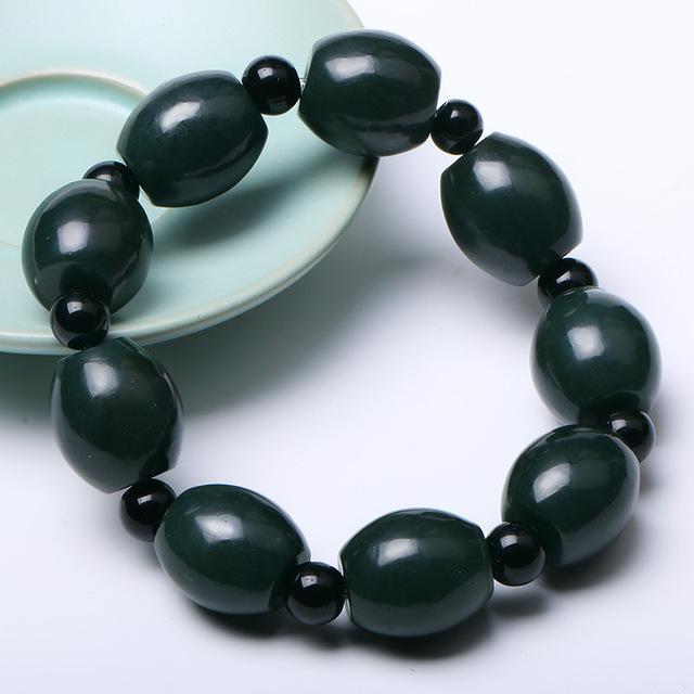 QING Jade Natural Hetian Jade Verde Escuro Pulseira Rodada Forma Talão Corda Mão Pulseira Pulseiras de Jade Dos Homens Da Forma do Menino jóias