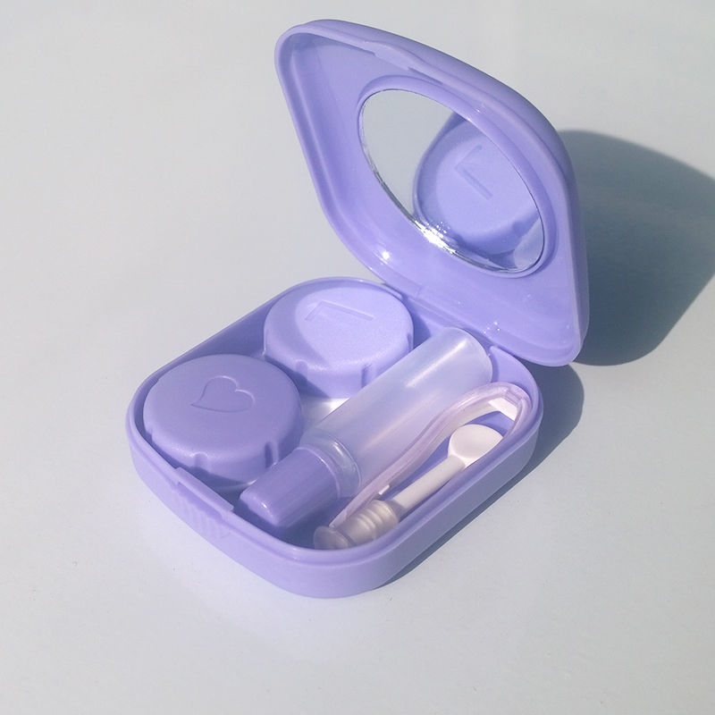 KLASSNUM 1 pc hot selling Pocket Mini Contact Lens Case Travel Kit Mirror Container High Quality Cute portable 5 colors