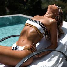 цена Sexy Bikini 2019 Swimwear Women Swimsuit Bikinis High Waisted Bathing Suits Swim Off Shoulder Bikini Set Hollow Tube Top Bandeau онлайн в 2017 году
