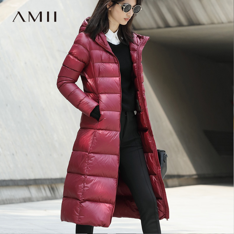 Amii Women 2018 Winter 90% White Duck Long   Down     Coat   Solid Hoodies Female plus size Light Jacket   Coats   Parkas