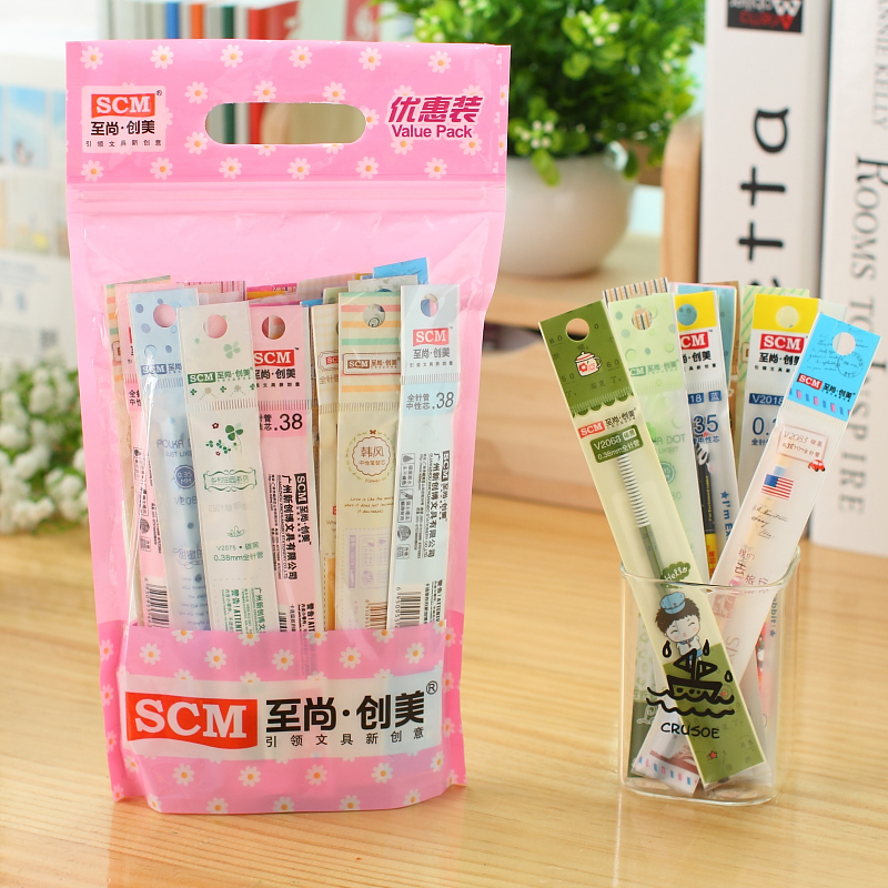 50pcs/lot SCM Korea Creative School Stationery <font><b>Gel</b></font> <font><b>Pen</b></font> <font><b>Refills</b></font> Black Blue Red 0.35 <font><b>0.38</b></font> 0.5 <font><b>Pens</b></font> <font><b>Refills</b></font> for Student Writing image