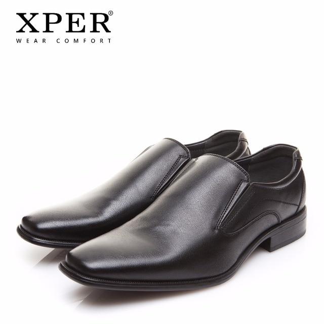 2018 XPER брендовые Мужские модельные туфли модные Бизнес обувь носить удобную человек официальная обувь без застежки свадебные туфли черный # XYWD8692BL