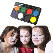 Фестиваль теней Кисть для макияжа Палитра клоун для косплея Краски ing палитры тряпка для мытья тела Краски 8 цветов для макияжа на Хэллоуин Карнавальный Вечерние