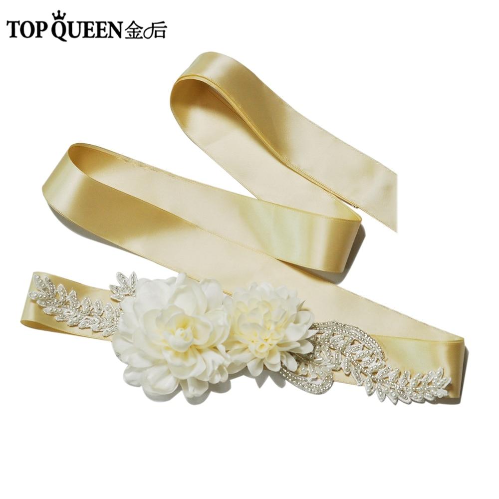 TOPQUEEN Women's Handmade Elegant Flower Wedding Bride Bridesmaid Sash Belt S251 For the Wedding Evening Party Bridal Dress