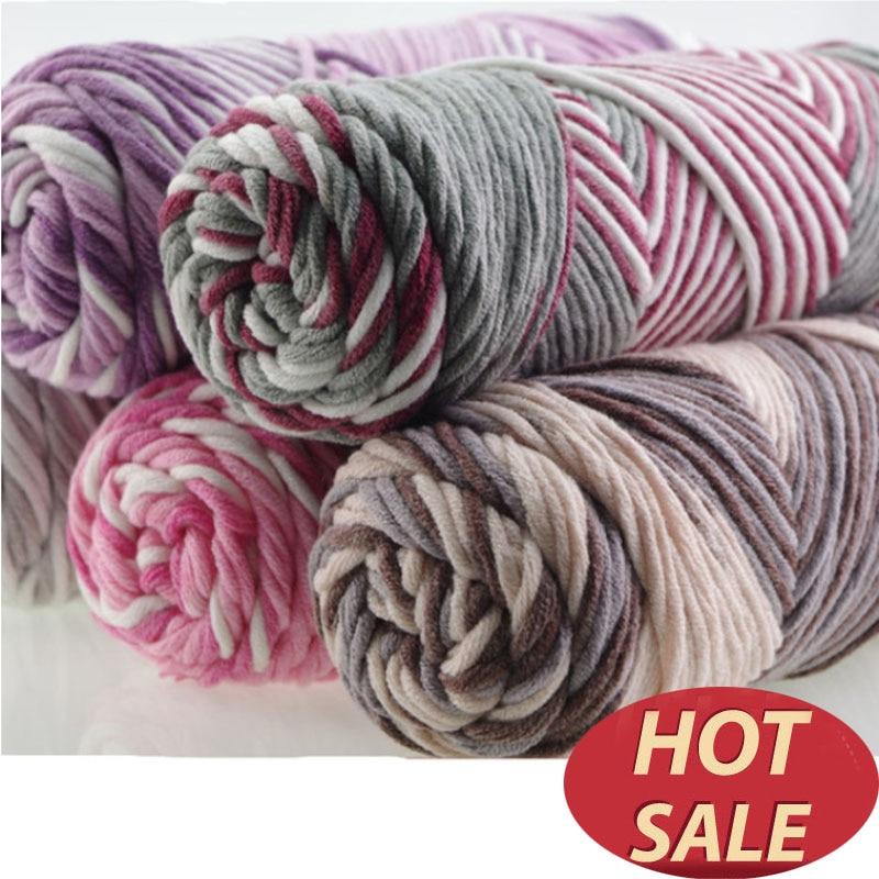 3 Keping / Lot Warna Campuran Bayi Kapas Benang Susu Lembut Asli Benang tebal Untuk Menenun Bulu Merenda Benang Menenun Thread dengan Kerja Tangan