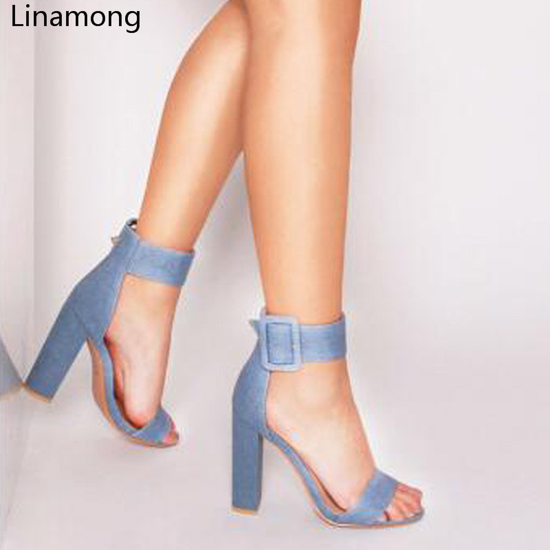 Fashion Hot Sale Women Denim Ankle Strap Big Buckle Summer Sandals Sexy Open Toe Chunky Heels Female Dress Party Sandal Shoes цена 2017