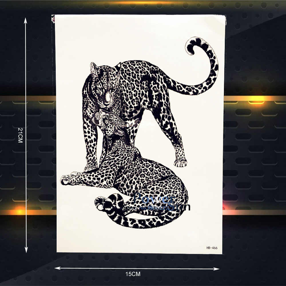 С леопардовым принтом Временные татуировки Для женщин пикантные Средства ухода за кожей Книги по искусству руку Тату рукава стены Стикеры 21x15 см Черная пантера кожи татуировки Jaguar наклейка