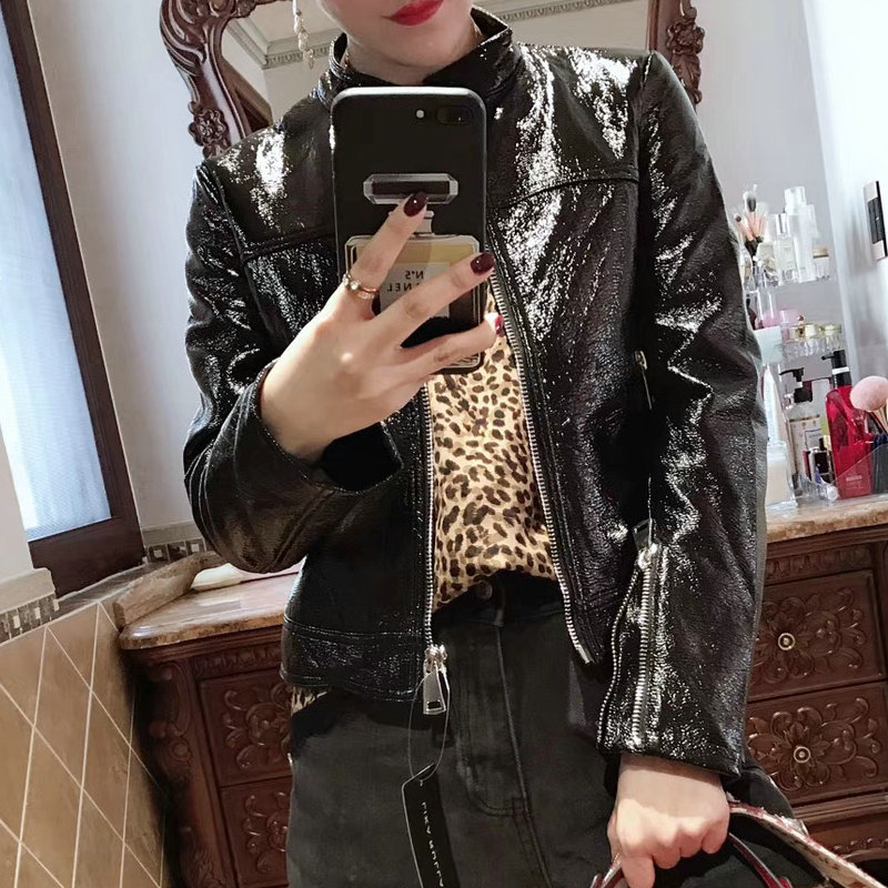 2019 New Women Shinning Pu Faux Patent   Leather   Jackets Lady Long Sleeve Zippers Black Streetwear Motorcycle Coats Outerwear