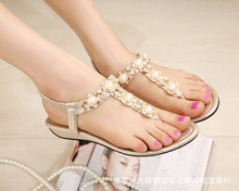 Free Shipping! Fashion 2017 New Women Shoes Breathable Comfortable Leather Sandals Sexy Non Slip Rhinestone Shoes Beach Sandals