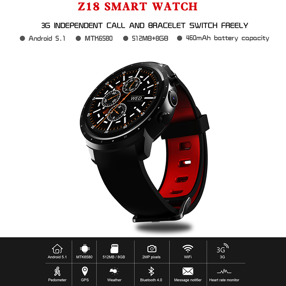 Jakcom Z18 Smart Watch Android 5.1 Smartwatch 512MB+8GB Camera 3G WIFI GPS Heart Rate Monitor Sports Clock Support Dropshipping 2 pcs smart watch x200 android wristwatch heart rate monitor smartwatch with camera support 3g wifi gps 8gb 512mb for business