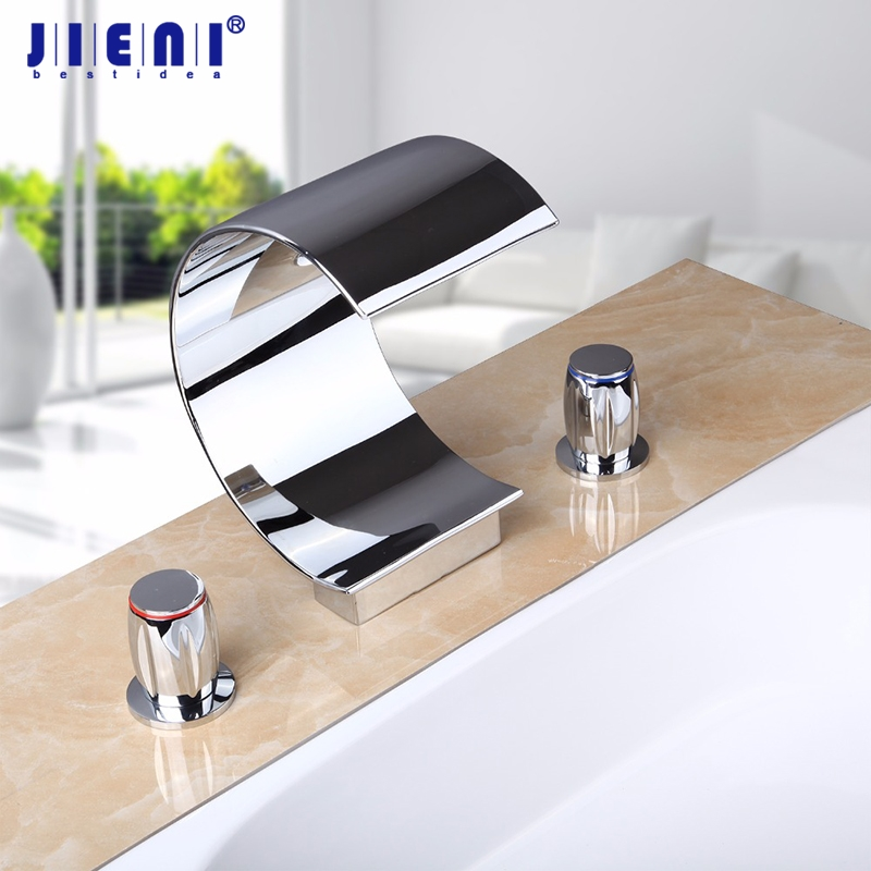 Hot/Cold Waterfall Spout Deck Mount Polish Chrome Brass Bathroom Sink Wash Basin Double Handle 60G Torneira Mixer Tap Faucet