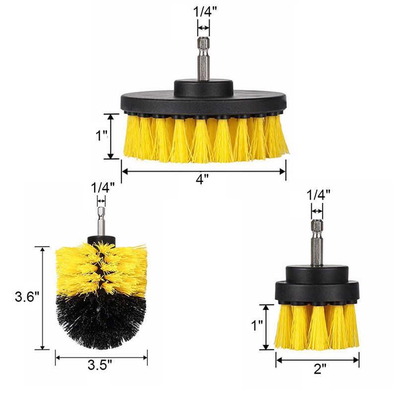 ¡3 unids/set taladro de matorral limpio cepillo de plástico de cuero muebles de madera coche interiores poder de limpieza exfoliante 2/3! 5/4 pulgadas